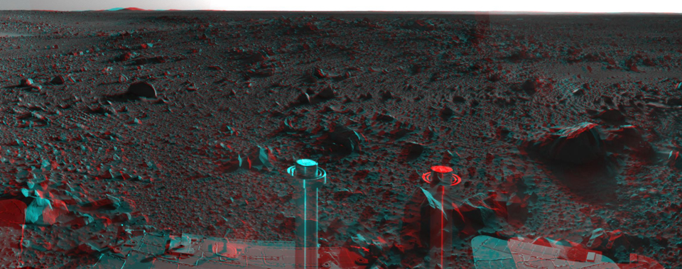 This 360-degree stereo anaglyph of the terrain surrounding NASA's Mars Exploration Rover Spirit