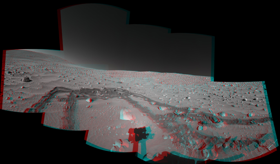 This stereo view was assembled from images taken by the navigation camera on NASA's Mars Exploration Rover Spirit during the rover's 337th martian day