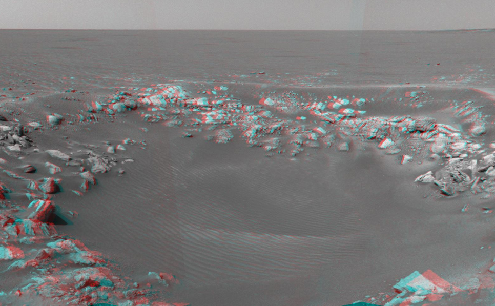 This 3-D cylindrical-perspective projection was constructed from a sequence of four images taken by the navigation camera onboard the Mars Exploration Rover Opportunity