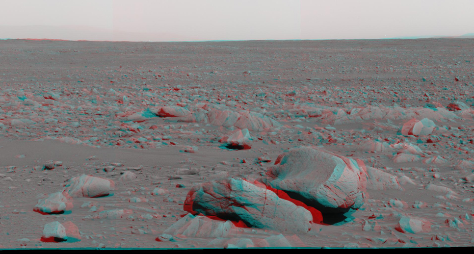 This stereo view was taken by the panoramic camera on NASA's Mars Exploration Rover Spirit on the rover's 87th martian day, or sol