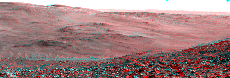 NASA's Mars Exploration Rover Spirit obtained this stereo panorama of the surrounding Martian terrain in Gusev Crater from two positions about 10 meters (33 feet) apart