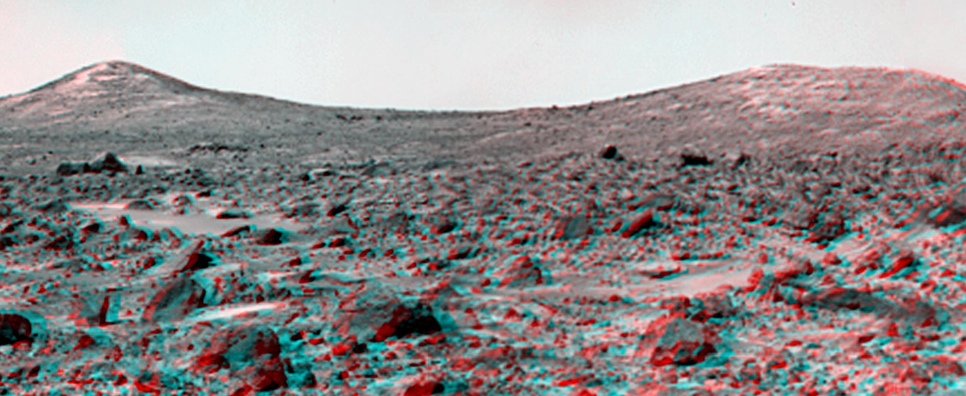The Twin Peaks were discovered on the first panoramas taken by the IMP camera on the 4th of July, 1997, and subsequently identified in Viking Orbiter images taken over 20 years ago