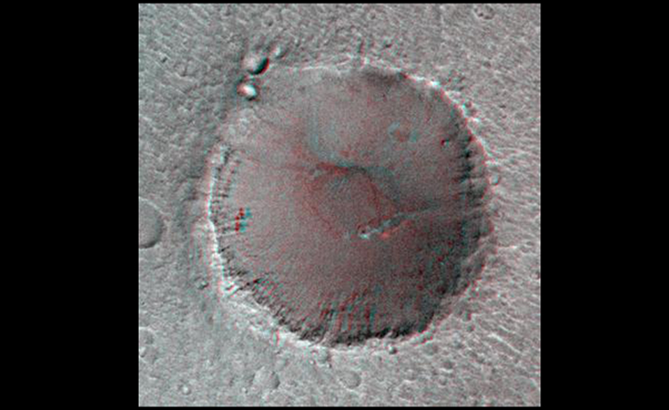 On its 256th orbit of Mars, the camera on-board the Mars Global Surveyor spacecraft successfully observed the vicinity of the Pathfinder landing site. The images shown are a stereoscopic image pair in anaglyph format, made from the overlapping area of MOC 25603 and 23703