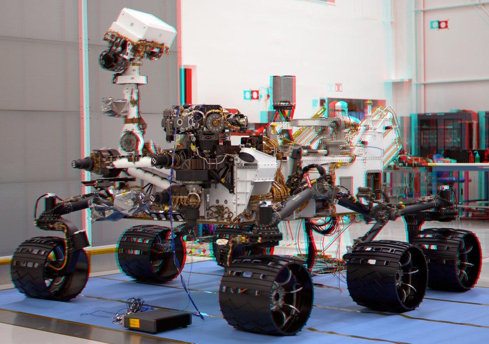 This stereoscopic anaglyph image was created from a left and right stereo pair of images of the Mars Science Laboratory mission's rover, Curiosity
