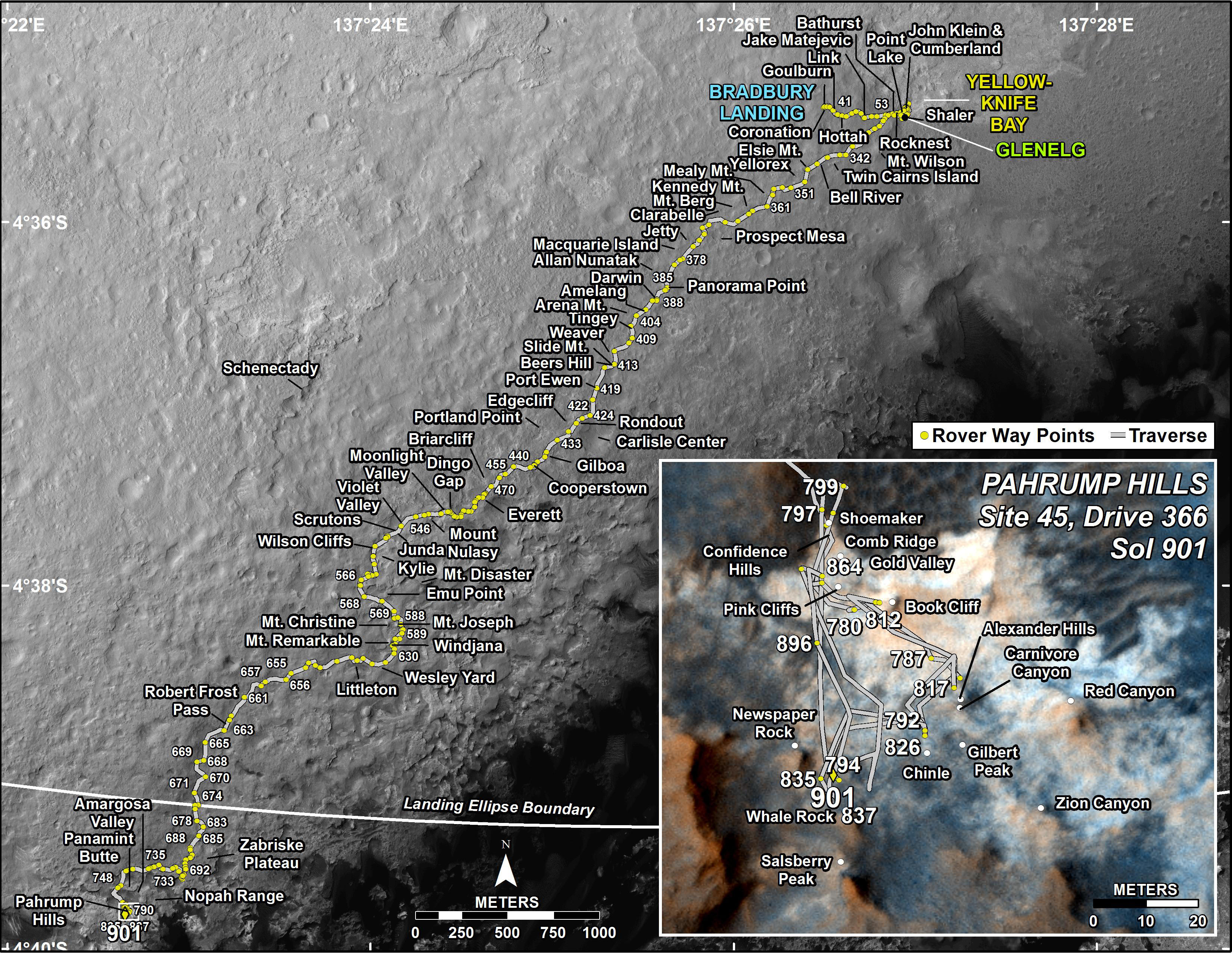 This map shows the route driven by NASA's Mars rover Curiosity through the 901 Martian day, or sol, of the rover's mission on Mars (February, 18, 2015).