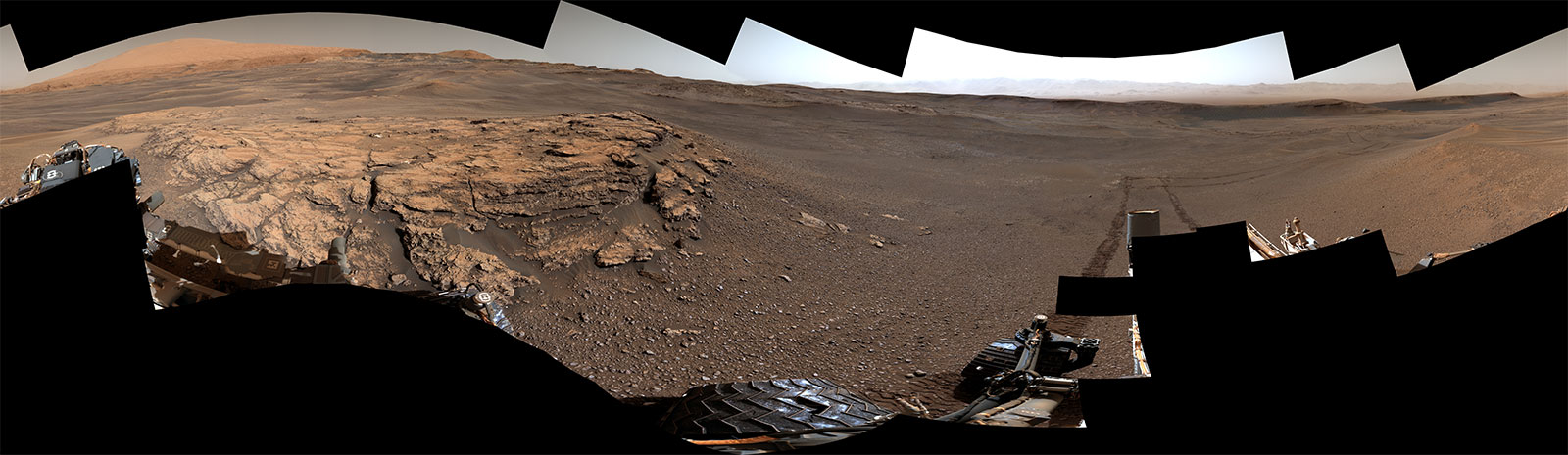 "Curiosity captured this 360-degree panorama of a location on Mars called ""Teal Ridge"" on June 18, 2019. This location is part of a larger region the rover has been exploring called the ""clay-bearing unit"" on the side of Mount Sharp, which is inside Gale Crater."
