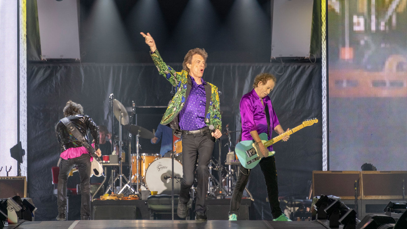 "The Rolling Stones took the stage at the Rose Bowl on Aug. 22, 2019. NASA's Mars InSight lander team named a Martian rock ""Rolling Stones Rock."""