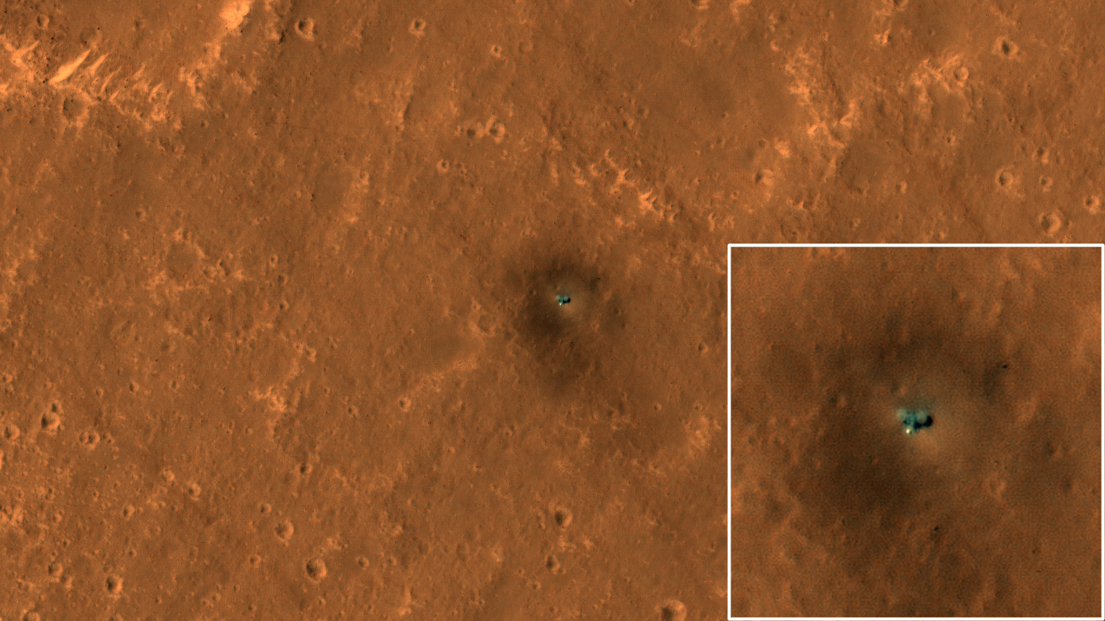 The HiRISE camera on NASA's Mars Reconnaissance Orbiter got its best view yet of the InSight lander on September 23, 2019.