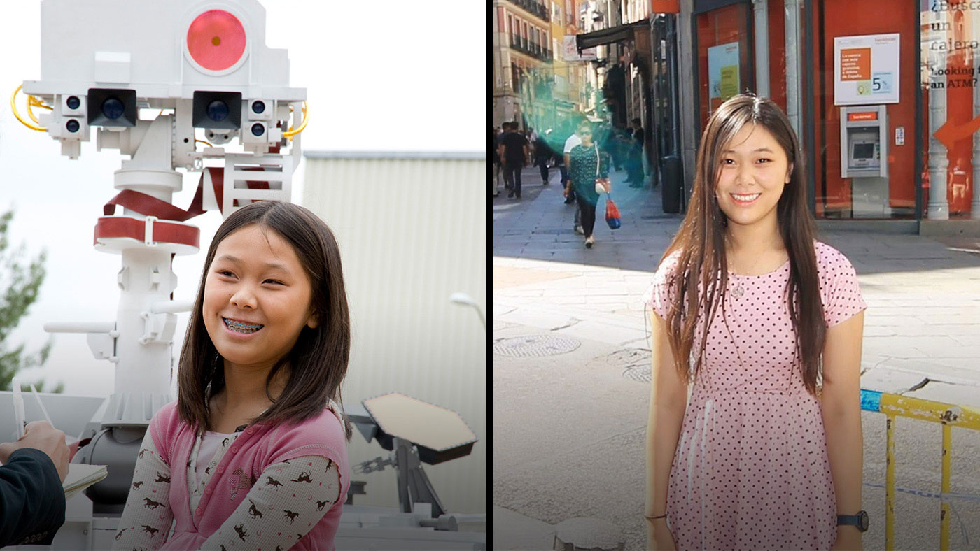 Clara Ma, winner of the contest to name NASA's Curiosity rover, in 2009 with an engineering model of the rover (left) and as a graduate student in 2019 (right)