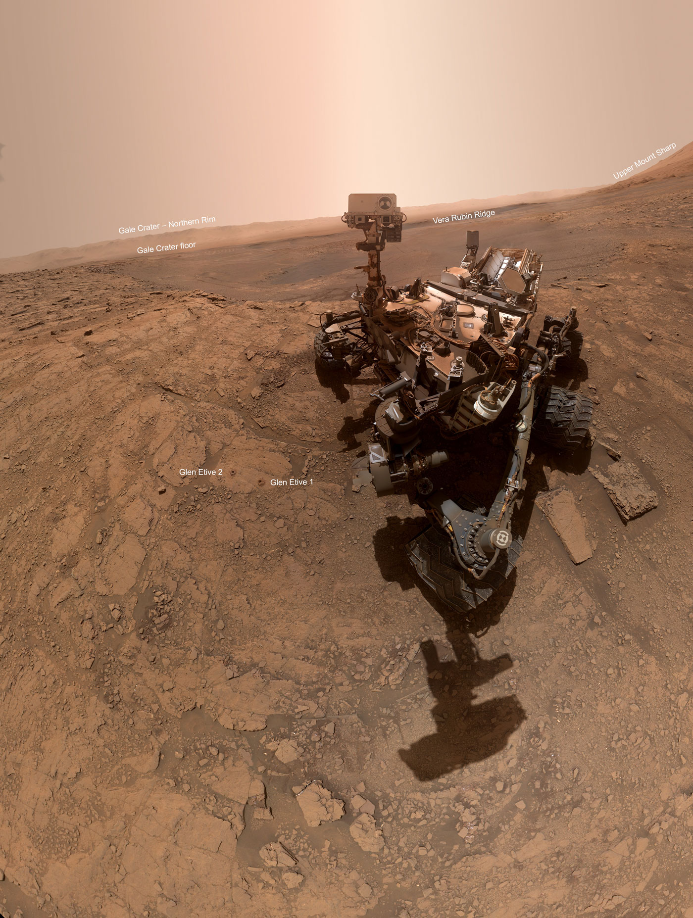 "NASA's Curiosity rover took this selfie on Oct. 11, 2019, the 2,553rd Martian day, or sol, of its mission. The rover drilled twice in this location, which is nicknamed ""Glen Etive."""