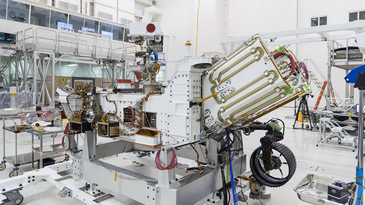 The electricity needed to operate NASA's Mars 2020 rover (pictured here) is provided by a power system called a Multi-Mission Radioisotope Thermoelectric Generator, or MMRTG.