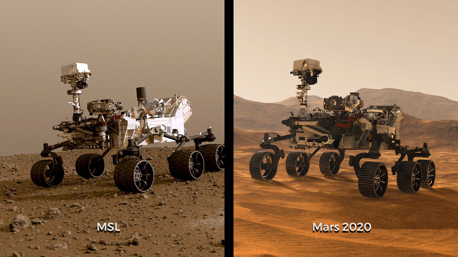 Image showing NASA's Curiosity rover to the left and Mars 2020 rover to the right.