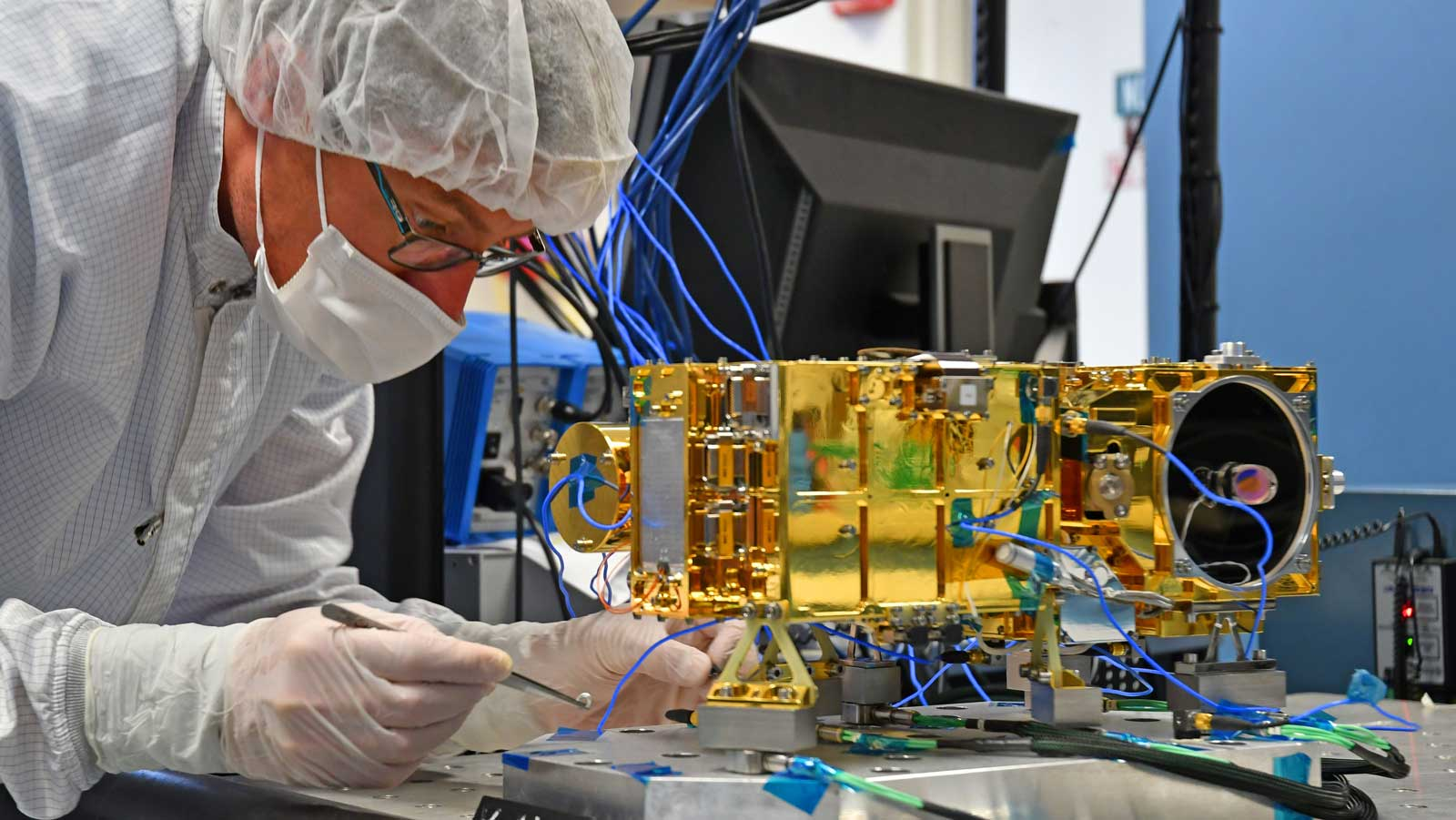 The Mast Unit for Mars 2020's SuperCam, shown being tested here, will use a laser to vaporize and study rock material on the Red Planet's surface.