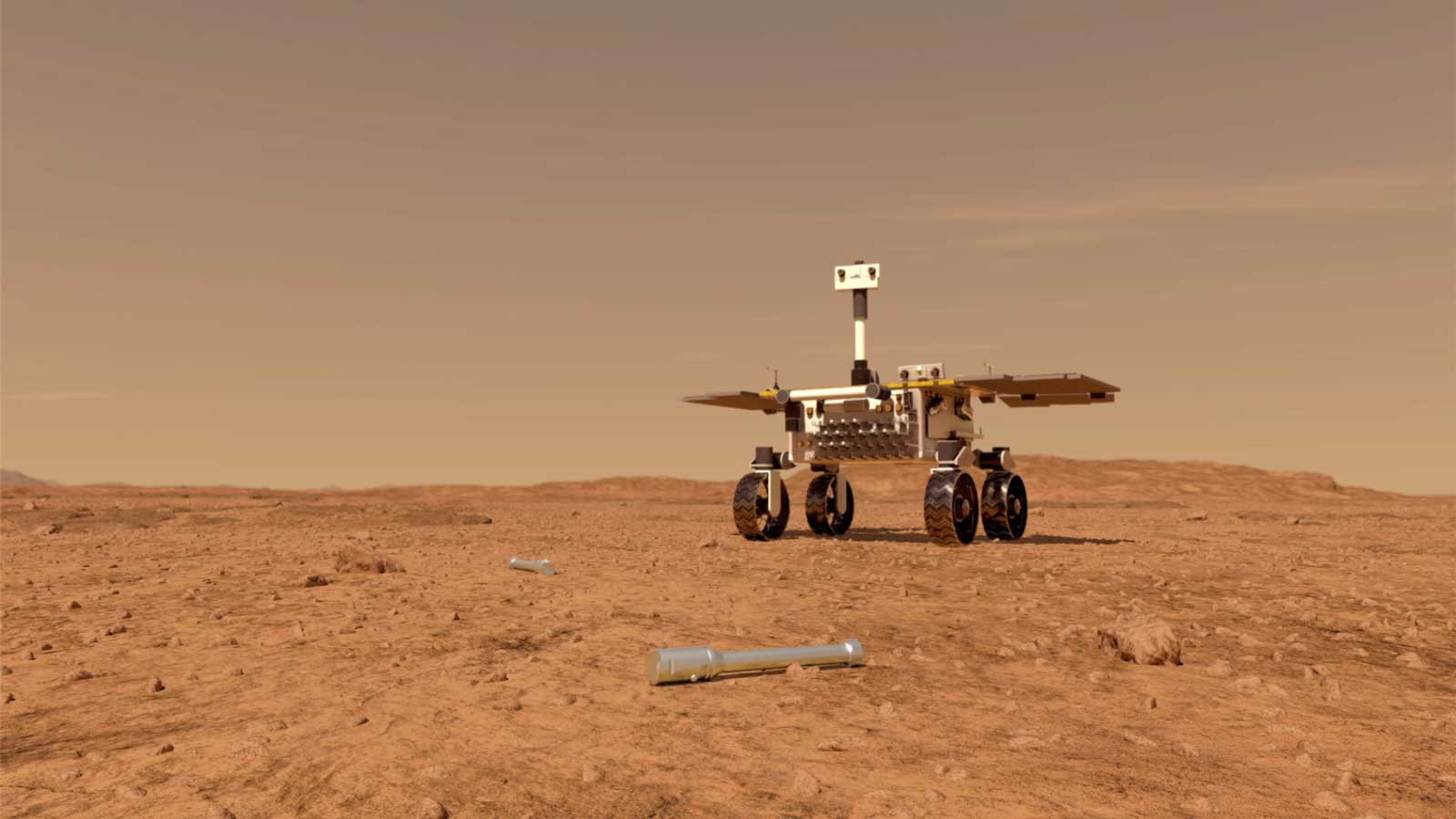 This illustration shows a concept of what a rover fetching rock and soil samples on Mars for return to Earth could look like.