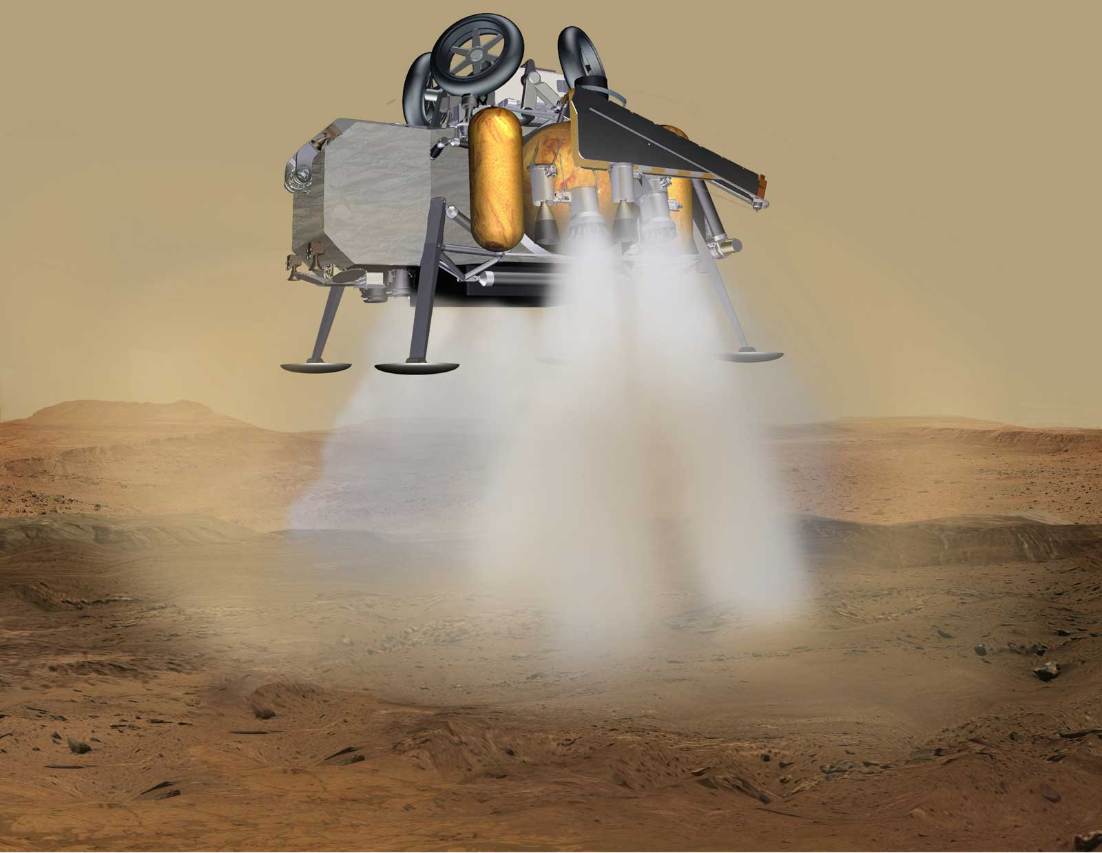 In this illustration of a Mars sample return mission concept, a lander carrying a fetch rover touches down on the surface of Mars.
