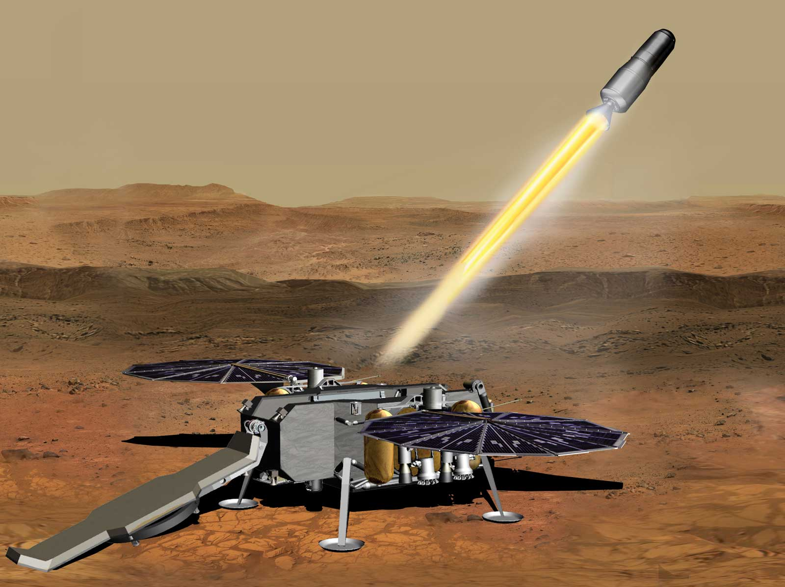 This illustration shows a concept of how the NASA Mars Ascent Vehicle, carrying tubes containing rock and soil samples, could be launched from the surface of Mars in one step of the Mars sample return mission.