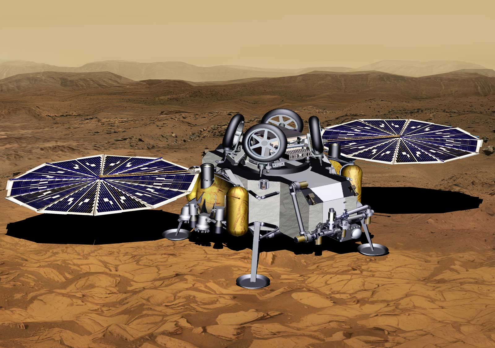 This illustration of a Mars sample return mission's lander concept shows a spacecraft after touchdown on the Red Planet.