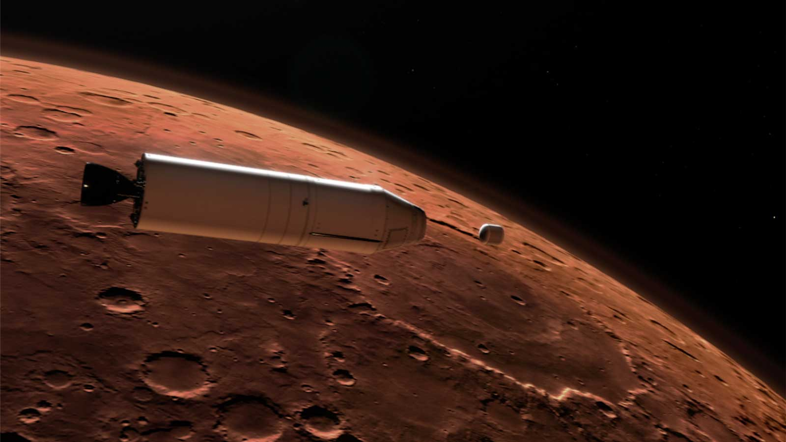 ​As part of a Mars sample return mission, a rocket will carry a container of sample tubes with Martian rock and soil samples into orbit around Mars and release it for pick up by another spacecraft.