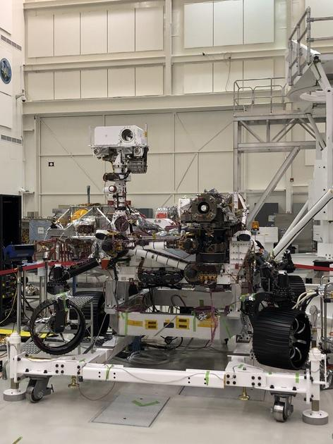 This image of NASA's Mars 2020 rover was taken on July 23, 2019 in the Spacecraft Assembly Facility's High Bay 1 at the Jet Propulsion Laboratory in Pasadena, California.