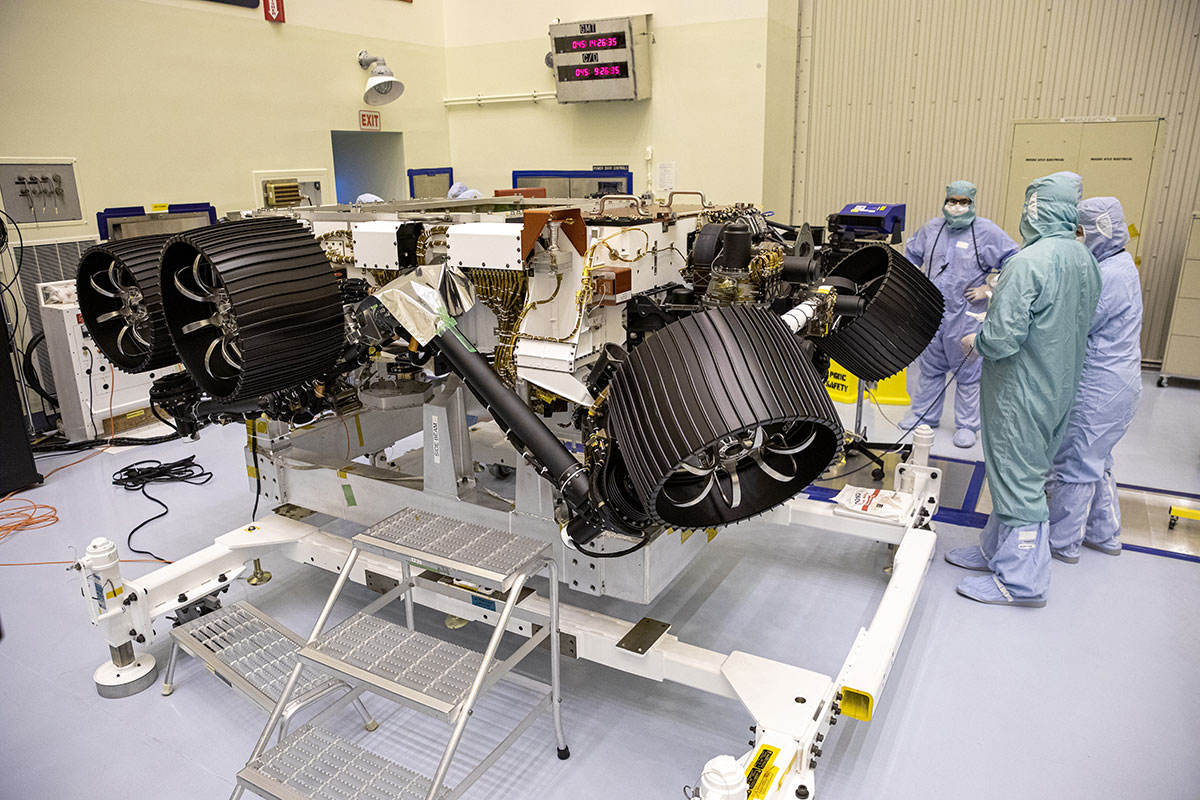 NASA's Mars 2020 rover, now called Perseverance, undergoes processing at a payload servicing facility at NASA's Kennedy Space Center on Feb. 14, 2020.
