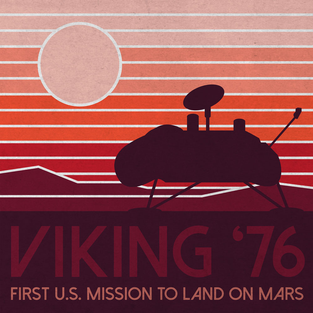 Anniversary artwork shows a NASA Viking 1 Lander or Viking 2 Lander on the surface of Mars.  Landing in 1976, Viking Landers were the first to touch down on the Red Planet.