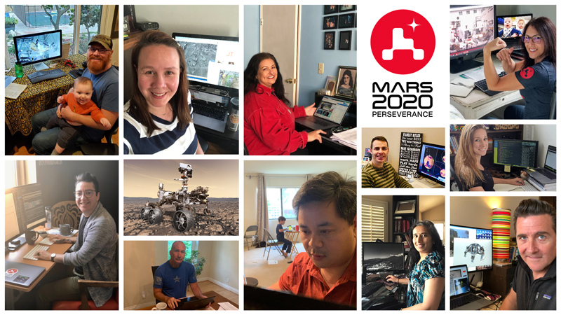 Members of NASA's Perseverance rover mission work remotely from home during the coronavirus outbreak