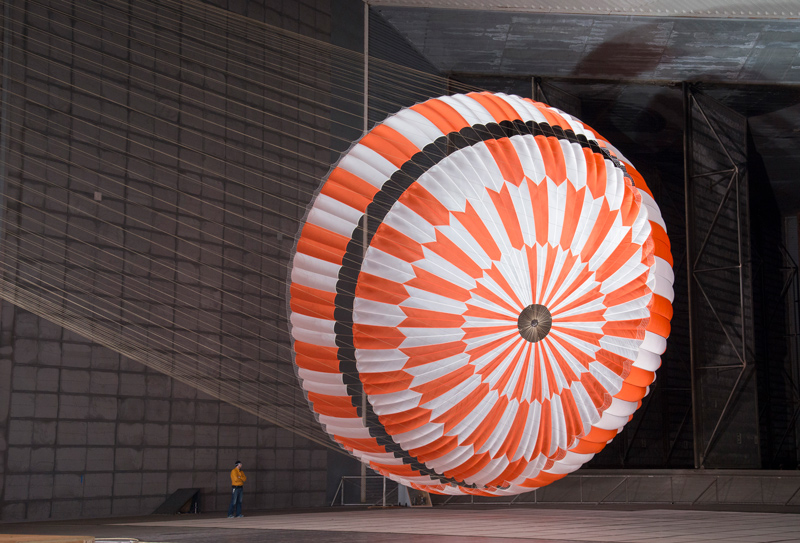 an image of a test of the parachute that will allow Perseverance to land on Mars
