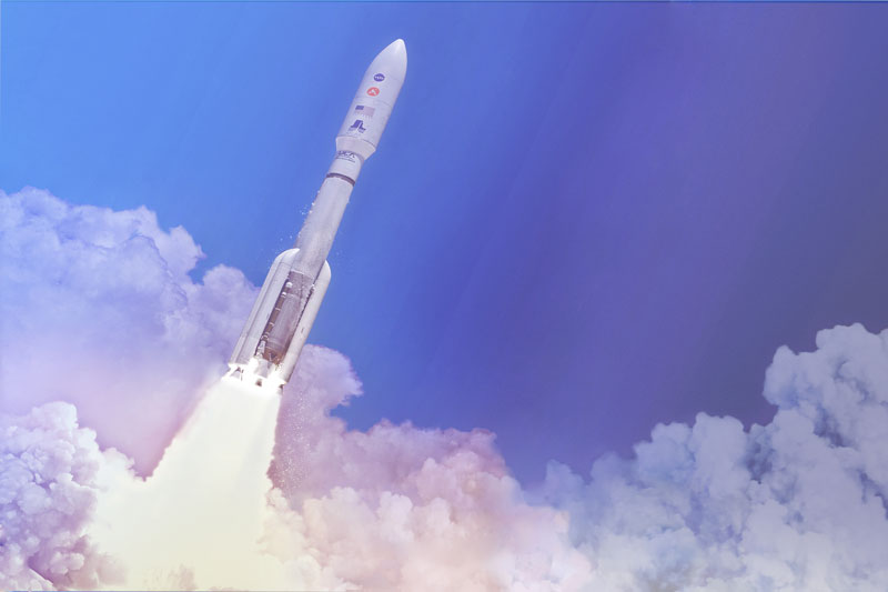 In this artist's concept, a two-stage United Launch Alliance Atlas V launch vehicle speeds the Mars 2020 spacecraft toward the Red Planet.