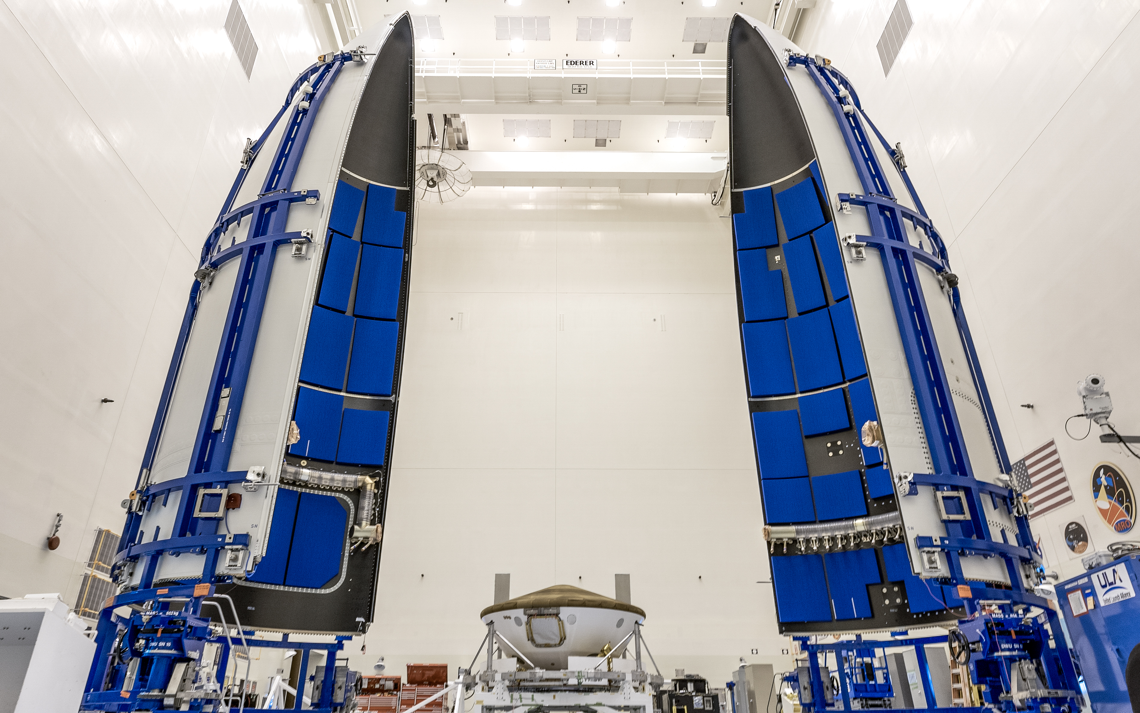 Perseverance rover is being prepared for encapsulation in the Atlas V payload fairing