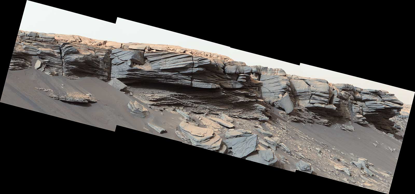 "The goosebump-like features in the center of this image were formed by water billions of years ago. NASA's Curiosity Mars rover discovered them as it crested the slope of ""Greenheugh Pediment"" on Feb. 24, 2020, the 2685th Martian day, or sol, of the mission."
