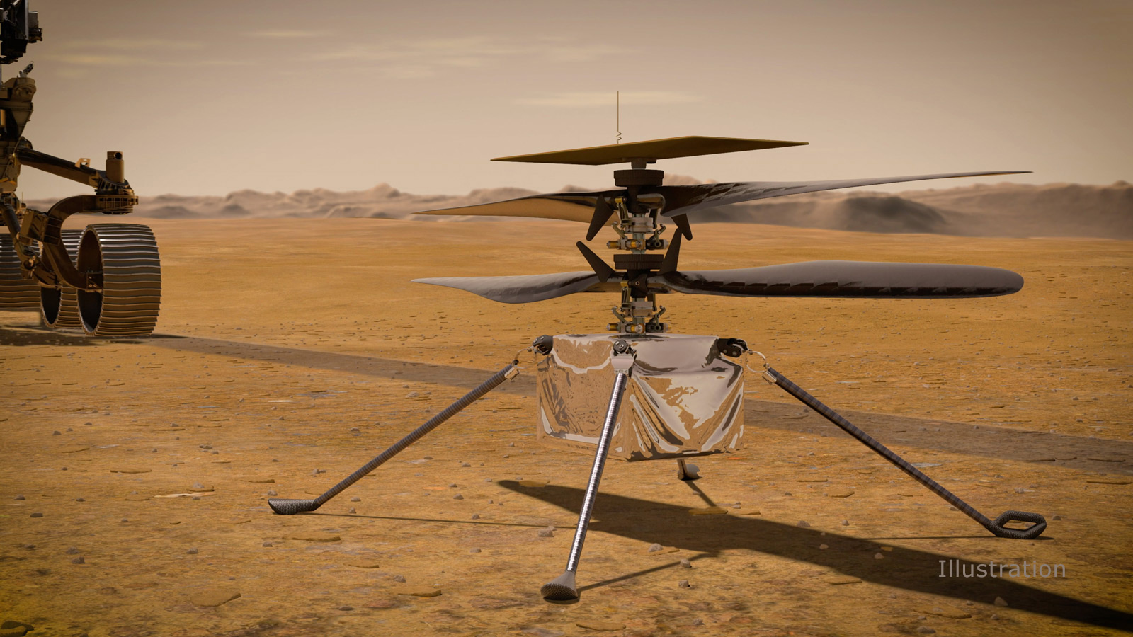 The helicopter with four long blades, a cube-shape body and long skinny legs sites in the forground with the wheels of the rover visible to its right.