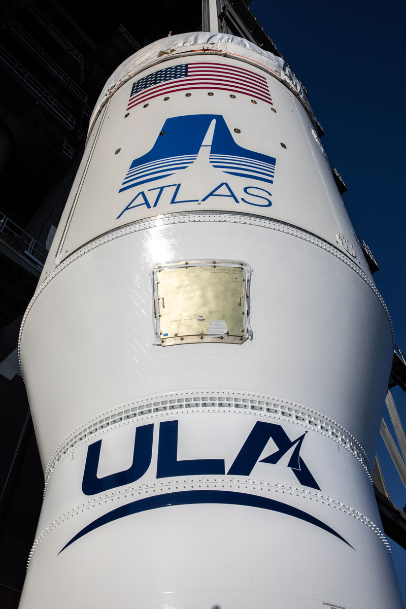 A close-up view of the single-engine Centaur upper stage