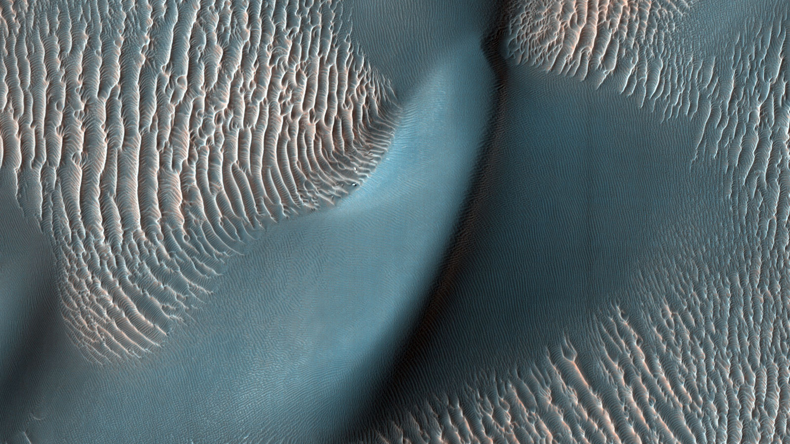 sand ripples and a large dune on Mars