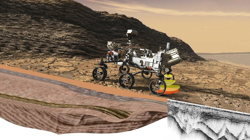 Illustration of Perseverance's Radar Imager for Mars' Subsurface Experiment using radar waves to probe the ground