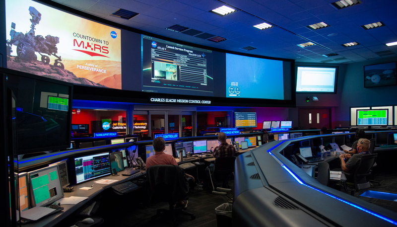 Communication engineers at NASA's Jet Propulsion Laboratory