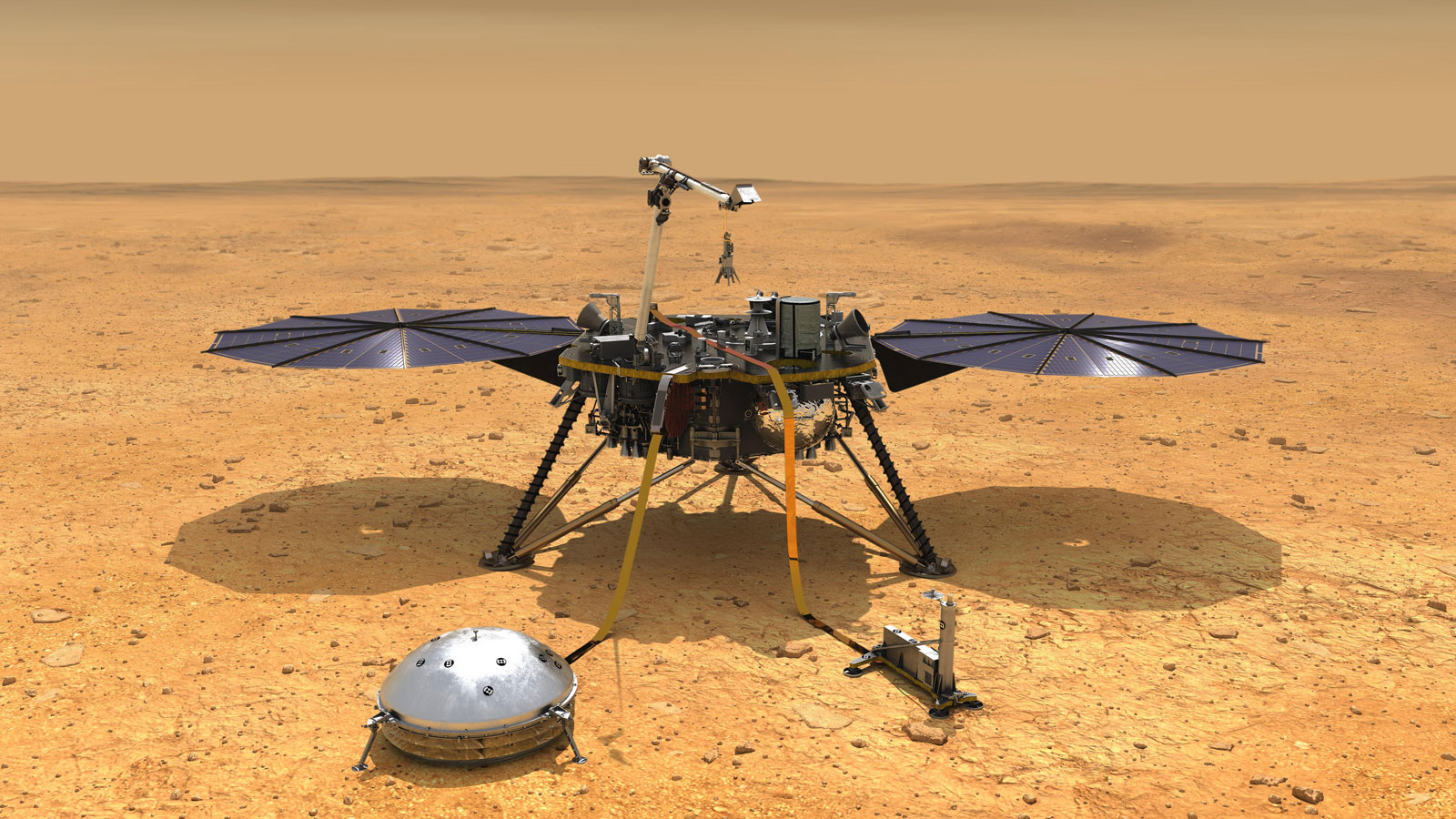 NASA's InSight spacecraft with its instruments deployed on the Martian surface
