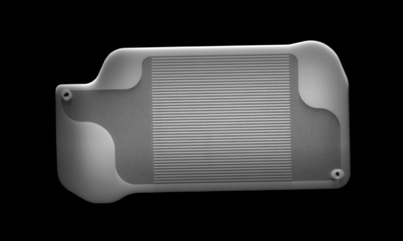 This X-ray image shows the interior of a palm-size 3D-printed MOXIE instrument