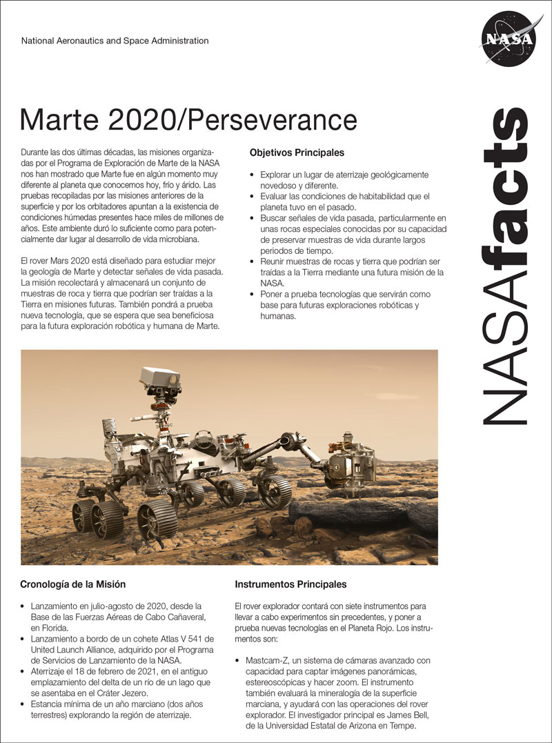 Download a PDF of the Mars 2020 Perseverance Fact Sheet in Spanish.