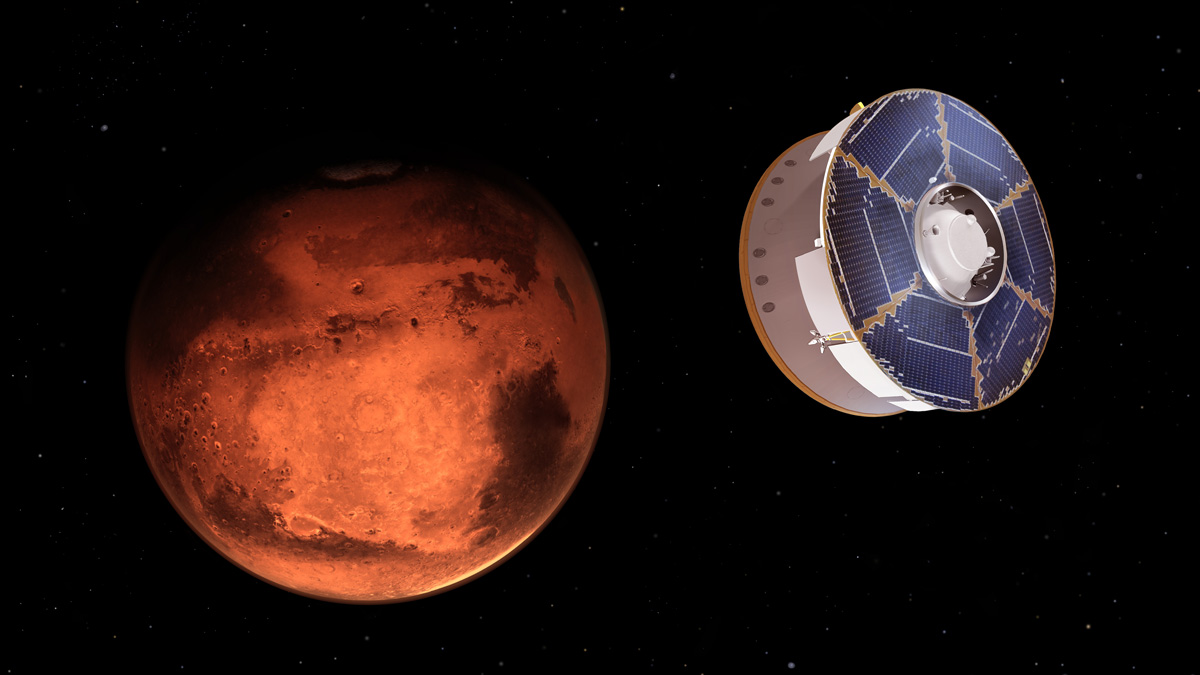 Perseverance approaching Mars in space