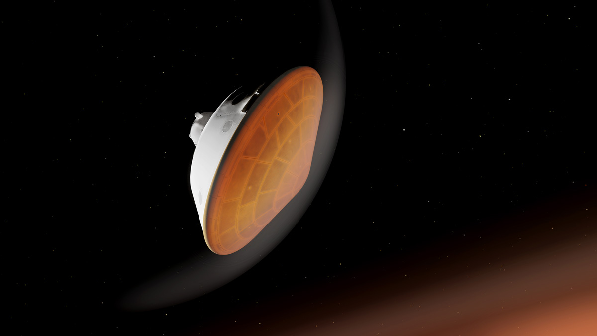 Illustration of NASA's Perseverance heat shield facing the planet