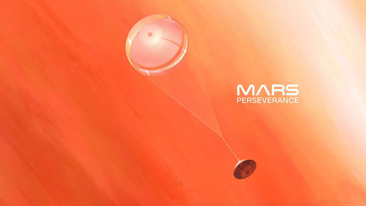 Spacecraft with parachute and orange background