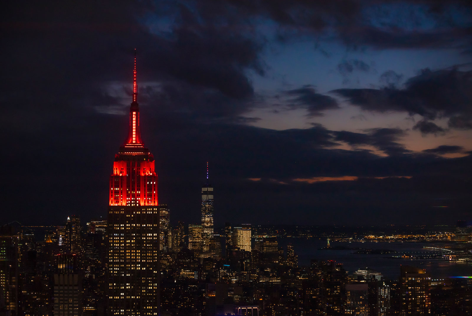 Empire State Building in New York began lighting its tower red on Tuesday, Feb. 16, starting at sunset.