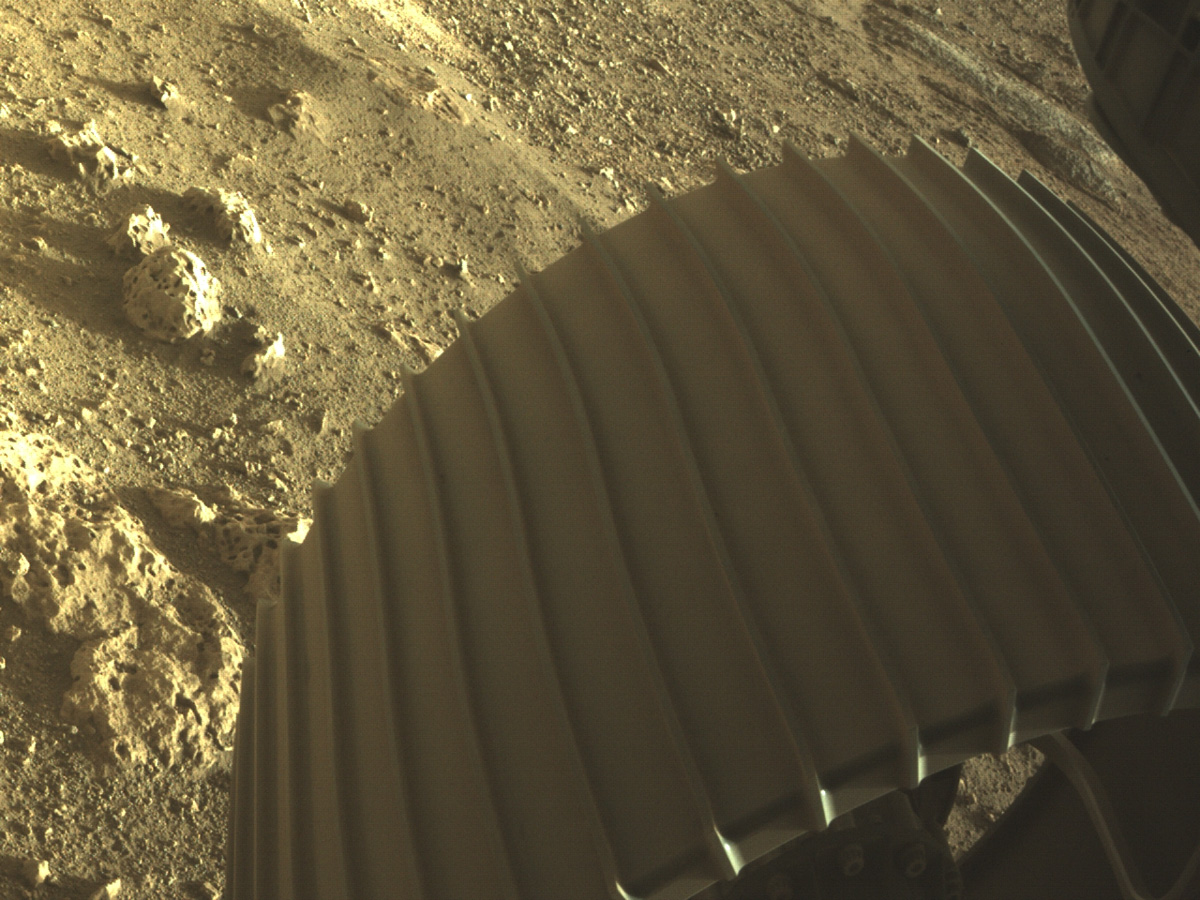An image of one of the six wheels aboard NASA's Perseverance Mars rover on Mars