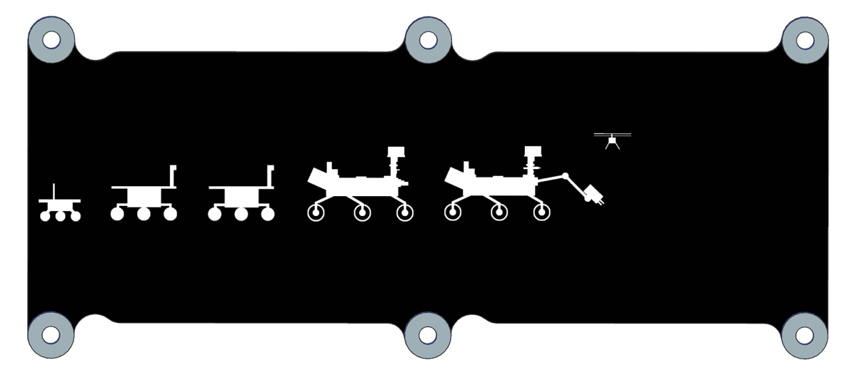 A black, rectangular drawing with profiles of five white rovers in a row and a small helicopter hovering