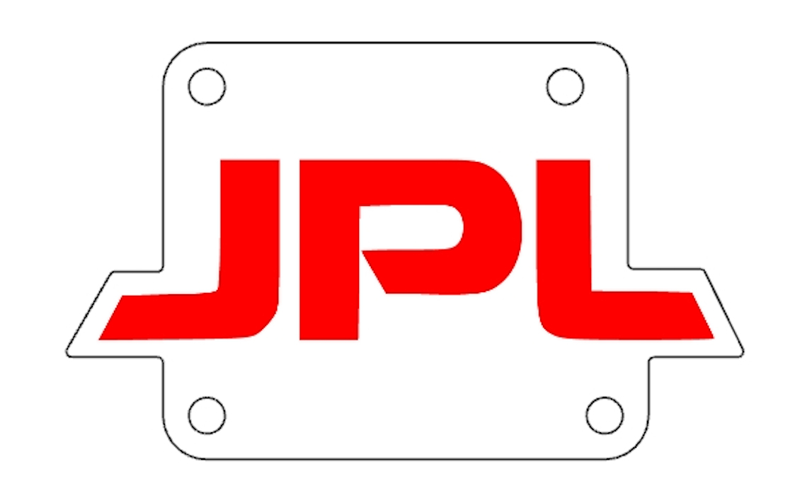 An illustration of an aluminum plate with the initials of JPL in red letters