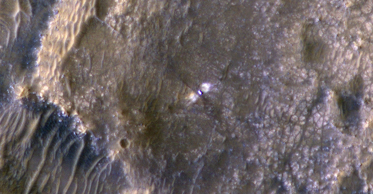 The HiRISE camera aboard NASA's Mars Reconnaissance Orbiter took this image of the Perseverance rover on Feb. 24, 2021.