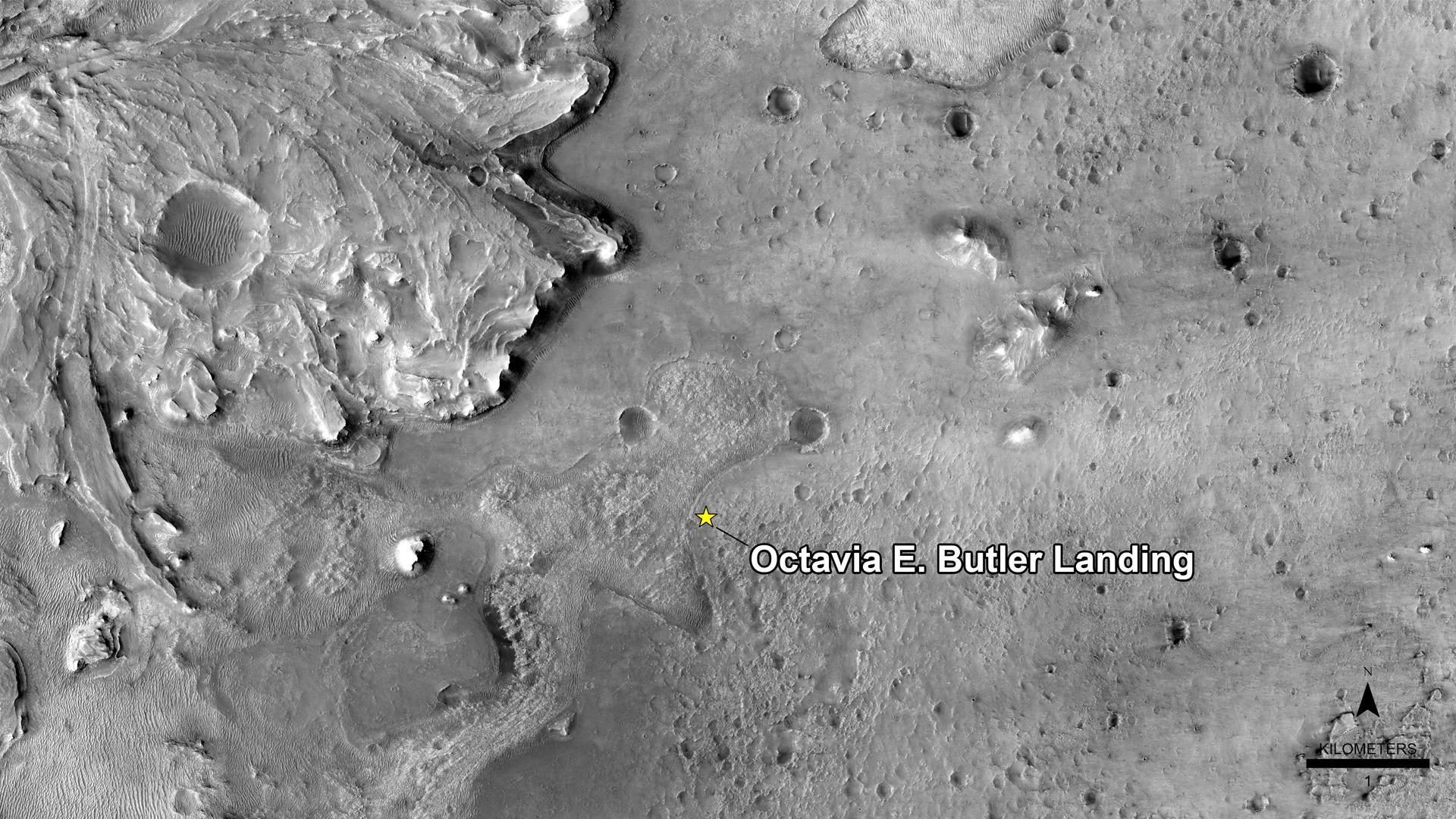 NASA has named the landing site of the agencys Perseverance rover after the science fiction author Octavia E. Butler, as seen in this image from the High Resolution Imaging Experiment camera aboard NASAs Mars Reconnaissance Orbiter.