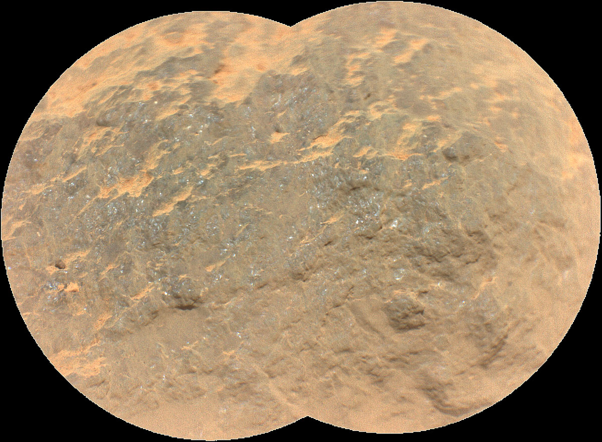"Combining two images, this mosaic shows a close-up view of the rock target named ""Yeehgo"" from the SuperCam instrument on NASA's Perseverance rover on Mars."