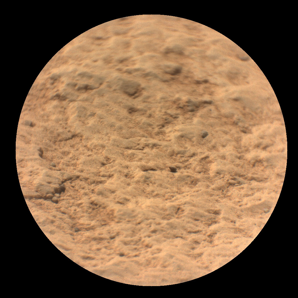 "This image shows a close-up view of the rock target named ""Máaz"" from the SuperCam instrument on NASA's Perseverance Mars rover. It was taken by SuperCam's Remote Micro-Imager (RMI). ""Máaz"" means Mars in the Navajo language."