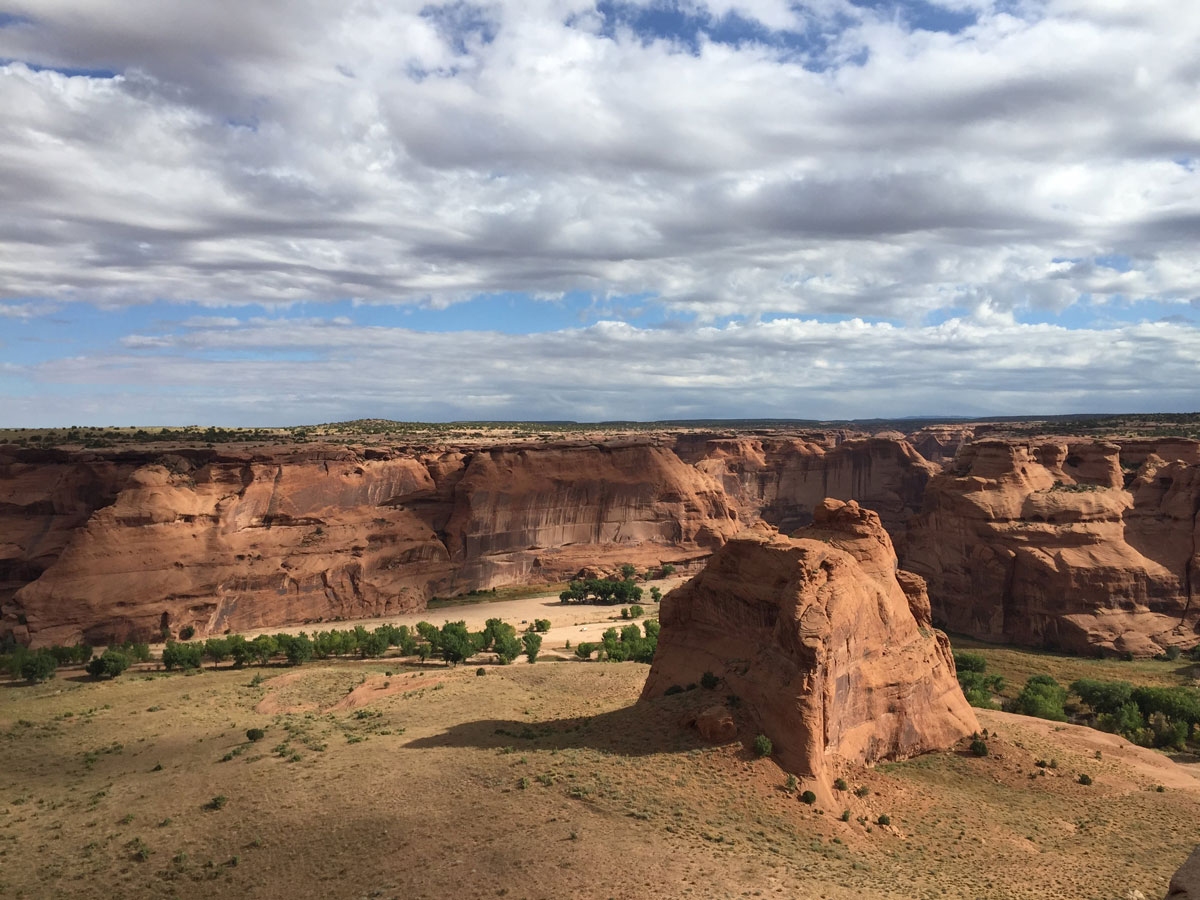 "Canyon de Chelly National Monument (""Tséyi'"" in Navajo) in Arizona is located on Navajo Nation land."